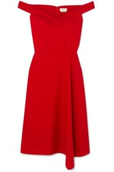 Alexander Mcqueen Off The Shoulder Asymmetric Wool Blend Crepe Midi Dress Red