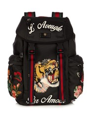 Gucci Embroidered Backpack Black Multi