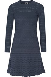 M Missoni Crochet Knit Mini Dress Storm Blue