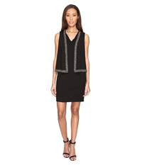 Adrianna Papell Knit Crepe Cape Dress With Cold Shoulder And Embellishment Black Women's Dress