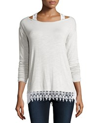 Design History Lightweight Lace Trim Cold Shoulder Tee Stone Grey
