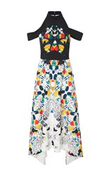 Bibhu Mohapatra Stained Glass Printed Cold Shoulder Dress