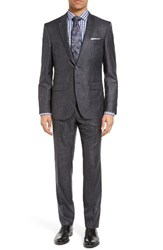 Boss Men's T Harvers Glove Trim Fit Solid Wool And Silk Suit