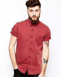 Asos Twill Shirt In Short Sleeve With Acid Wash Burgundy