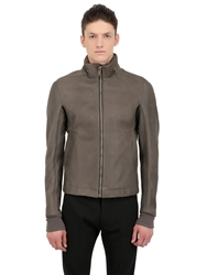 Rick Owens Hooded Heavy Leather Jacket Dark Dust