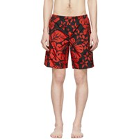 Palm Angels Red And Black Hawaiian Swim Shorts
