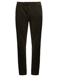 Massimo Alba Straight Leg Cotton Corduroy Trousers Charcoal