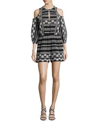 Rachel Zoe Tory Embroidered Cotton Romper Black White Black White