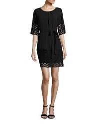 Tahari By Arthur S. Levine Belted Lace Trimmed Dress Black