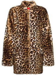 Sandy Liang Montague Collared Leopard Print Faux Fur Coat Brown