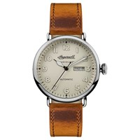 Ingersoll Men's The Trenton Radiolite Automatic Day Date Leather Strap Watch Tan White