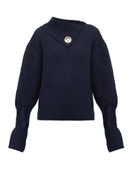 J.W.Anderson Jw Anderson Draped Neckline Ribbed Wool Blend Sweater Navy