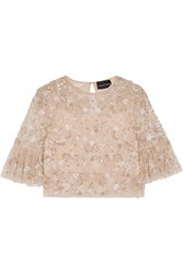 Needle And Thread Supernova Cropped Embellished Tulle Top Pastel Pink