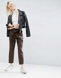 Asos Premium Leather Look Peg Trousers With Obi Tie Brown