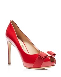 Salvatore Ferragamo Peep Toe Platform Pumps Plum High Heel Rosso