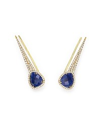 Meira T 14K Yellow Gold Blue Sapphire Ear Climber Earrings With Diamonds