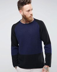 Nudie Jeans Vladimir Block Print Jumper Black Blue Navy