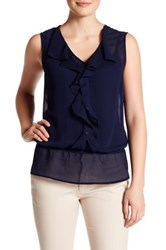 Laundry By Shelli Segal Sleeveless Front Ruffle Blouse Blue