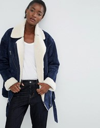 Asos White Suede Biker Jacket With Borg Lining Navy Cream Black
