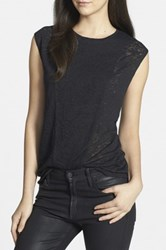 Trouve Back Cutout Burnout Tee Black