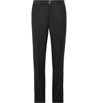Alexander Mcqueen Slim Fit Satin Trimmed Wool Gabardine Tuxedo Trousers Black