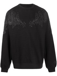 Mhi Maharishi Dragon Embroidery Sweatshirt Black