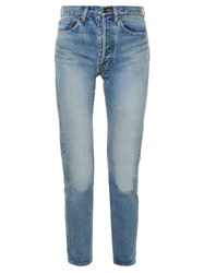 Saint Laurent High Rise Tapered Leg Jeans Light Blue