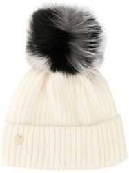 Yves Salomon Pompom Knit Beanie White