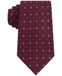 Club Room Men's Grid Neat Tie Only At Macy's Burgundy