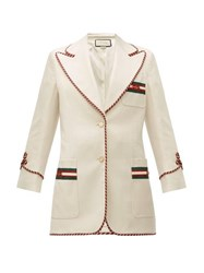 Gucci Web Stripe Single Breasted Twill Jacket Ivory Multi