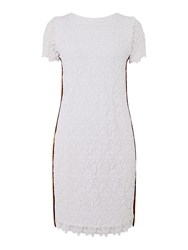 Hugo Boss Cap Sleeve Lace Dress With Side Stripe Detail White