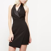 River Island Womens Petite Black Wrap Tux Dress