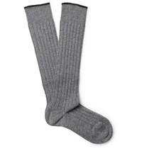 Brunello Cucinelli Contrast Tipped Ribbed Cashmere Over The Calf Socks Gray