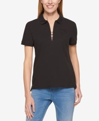 Tommy Hilfiger Zip Up Polo Top Only At Macy's Black