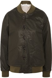 Current Elliott Charlotte Gainsbourg The Loop Button Waxed Cotton Blend Jacket