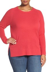 Halogenr Plus Size Women's Halogen Cashmere Crewneck Sweater Red Barberry