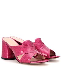 Marc Jacobs Aurora Patent Leather Mules Pink