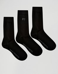 French Connection 3 Pack Socks Black