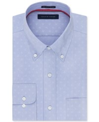 Tommy Hilfiger Men's Classic Regular Fit Non Iron Blue Anchor Print Dress Shirt Ice