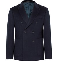 Noah Midnight Blue Slim Fit Double Breasted Baby Camel Hair Blazer Navy