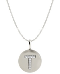 Macy's 14K White Gold Necklace Diamond Accent Letter T Disk Pendant