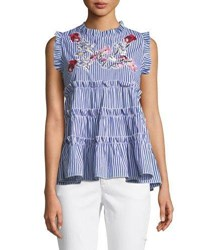 Romeo And Juliet Couture Sleeveless Embroidered Ruffle Tiered Striped Blouse Blue