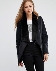Pepe Jeans Laurie Suede Waterfall Coat 999Black