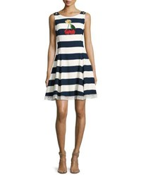Dolce And Gabbana Cherry Embroidered Striped A Line Dress Blue White Multi