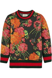 Gucci Floral Print Bonded Cotton Jersey Sweatshirt Red