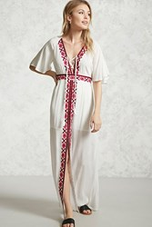 Forever 21 Embroidered Maxi Dress Ivory Hot Pink