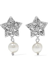 Miu Miu Silver Tone Crystal And Faux Pearl Earrings One Size