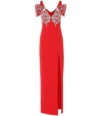David Koma Butterfly Embellished Cady Gown Red