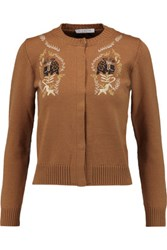 Vivetta Embroidered Wool Cardigan Brown