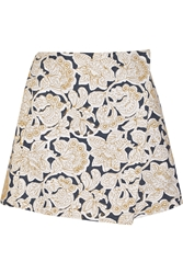 Suno Embroidered Cotton Canvas Mini Skirt